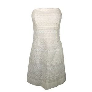 Lilly Pulitzer White Lace Novelty Strapless Dress